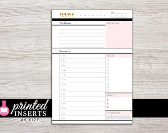 A5 Printed Planner Inserts - Daily Inserts - with Schedule and To Do - Filofax A5 - Kikki K Large - LV GM - Design: Goldie
