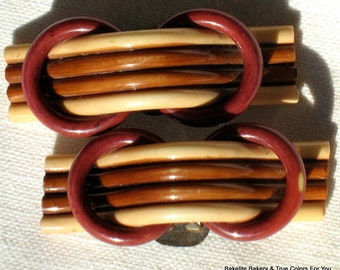 Celluloid Shoe Clips Antique Rare Estate Vintage Jewelry Bakelite Era Haute Couture Early Century Victorian Bow Dimensional Downton Abbey