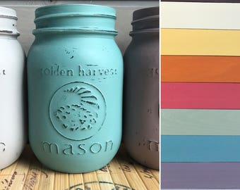 Custom Painted Mason Jar with Chalk Paint Hand Painted Pint Size Jars with New Colors
