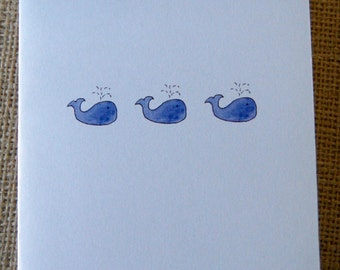 Watercolor whale cards