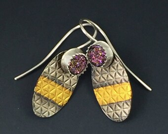 Gold and Silver Earrings with Purple Druzy and Keum Boo