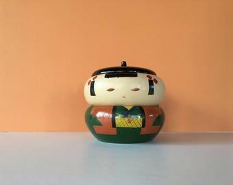 Vintage Bento Bowls, Kokeshi Bento, Kokeshi Bowls, Bento Box, Kokeshi Doll, Japanese Doll, Japanese Bowl, Stacking Bowl, Stacking Doll, Doll