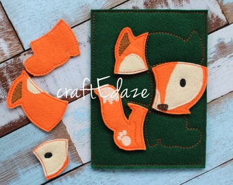 Fox On-the-Go Felt Puzzle with Storage Pouch