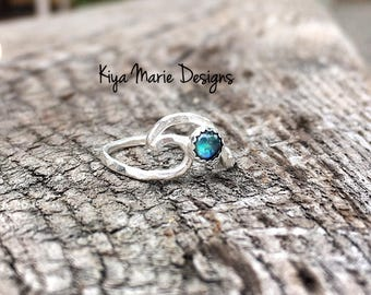 Silver wave ring, Abalone Ring, Argentium sterling silver wave, shark dolphin fin ring, ocean jewelry, sea waves ring, beach jewelry ring