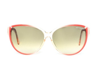 vintage butterfly sunglasses orange red - big transparent sunglasses frames from the 80s for women -  BC Toronja