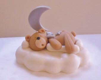 SLEEPY TEDDY BEAR Edible Fondant Baby Shower Cake Topper