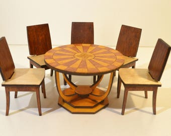 Set of furniture: Table & 5 Chairs for Dolls miniature BJD 1/12 diorama OOAK