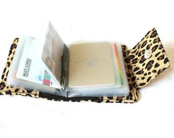 card holder wallet - cheetah card wallet - card organizer wallet - wallet photo album - loyalty cards holder - small wallet - gift under 20