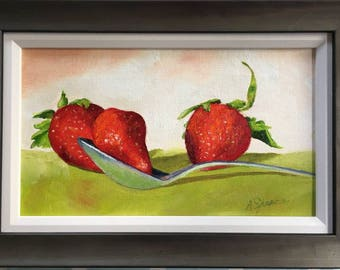 Just Add Cream! Oil painting on canvas. Framed 39cm x 26cm. Picture size 30cm x 17cm