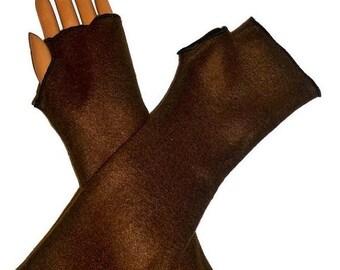 ON SALE Arm Warmers, Fingerless Gloves Brown Fleece Wrist Hand Warmers, Gift For Her, Handmade Harry Potter, Halloween Christmas Gift Women