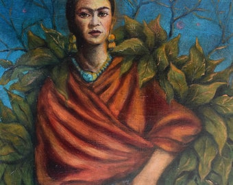 Frida's Dream Oil Painting on Panel in Vintage Frame
