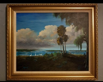 Original Acrylic Painting Florida Landscape Art Tropical Painting Lake Okeechobee Palms by Oscar Whirls