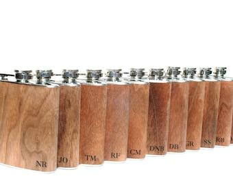 11 monogramed wood Flasks - groomsmen wedding gift best man