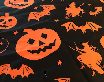 """Halloween Fabric """"Halloween Haunt""""  for Alexander Henry Pumpkins Witches, Bats. Moons Out of Print Trick Fabric FQ'S"""