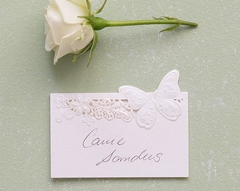 White Butterfly Wedding Place Cards Lase Cut  (Set of 20)