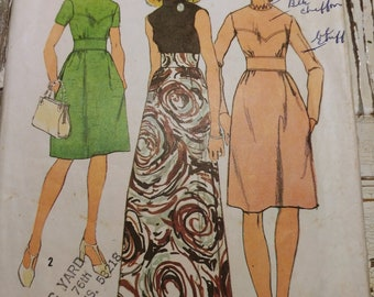 """High Neck Prom or Bridesmaid Dress Sewing Pattern, Simplicity 5236, SIze 12, Bust 34"""", Vintage 1972, Cut & Complete"""