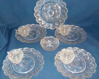 "Vintage ""Concord"" Pattern 10 piece Party Set, NOS, Brockway Glass Co., 1960, Sandwich Glass"