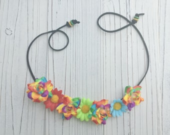 Neon Rainnbow Flower Halo