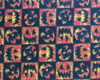 Pumpkin Check Halloween 1 yd Cotton Fabric