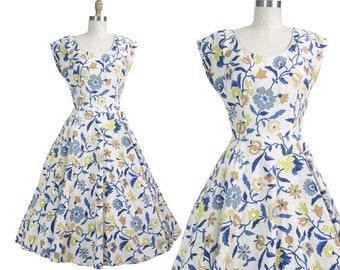 1950s Marsha Young Originals Tall Cotton Floral Print Dress