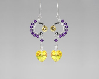 Purple and Yellow Swarovski Crystal Earrings, Industrial Earrings, Unique Jewelry, WIre Wrapped Earrings, Youniquely Chic, Solar Flare II v2