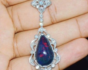 Opal Diamond Necklace - Opal Necklace - 14.19CTS Natural VS F Diamond Australian Black Opal 18K Solid Gold Riviera Slide Pendant Necklace