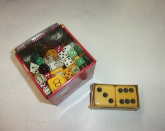 Dice collection lot with vintage metal dice box