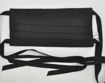 Black Face mask with cotton strings back ties Organic cotton mask black Men and Women, Man, Woman