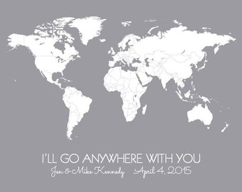 Personalized Gift, Anywhere With You World Map Poster, Husband Gift, DIY Travel Map Print with Pins or Stickers, Anniversary Gift for Him