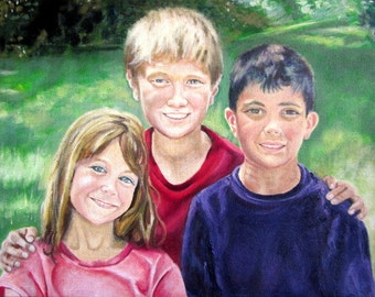 Original Custom Portrait Painting of 3 people from your photo, oil painting on canvas, family portrait, children, grandchildren