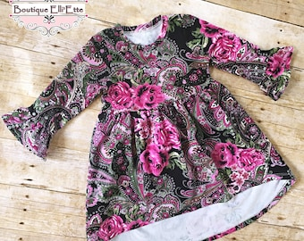 RTS 3T Girls Knit Dress Emerald Hot Pink Fantasia with Ruffled Sleeves Infant