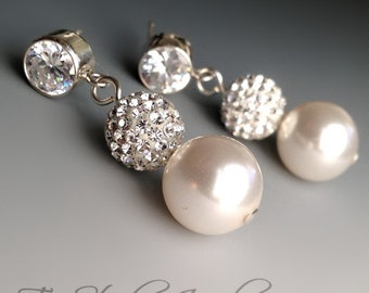 Crystal Pave and Pearl Bridal Earrings - Disco Ball Rhinestone Bridesmaid Earrings with CZ post