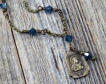 Antique Brass Rosary Style Denim Blue Necklace