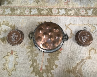 French copper egg poacher and pudding molds