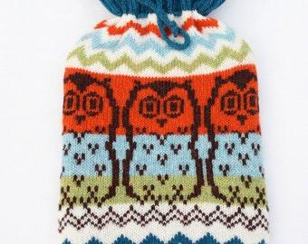 Knitted Owl Fairisle Hot Water Bottle Cozy/Cosy
