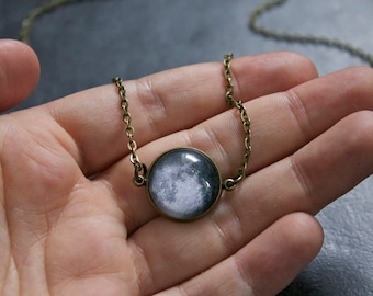Custom Moon Necklace Bronze - Choice of moon phase - Glass Dome full moon phase pendant Statement Necklace