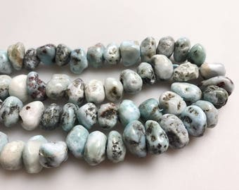 Genuine Larimar Nugget Loose Beads Size Approximate 9x15mm 15.5'' Long.  I-LAR-432
