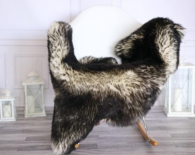 Sheepskin Rug | Real Sheepskin Rug | Shaggy Rug | Scandinavian Rug | | SCANDINAVIAN DECOR | Black White Sheepskin  #MIHER46