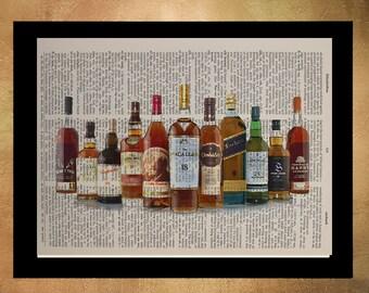 Whiskey Bottles Dictionary Art Print Drink Alcohol Bar Bourbon Scotch Bar Art Home Decor Gift Ideas da898