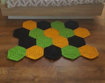 Rug, Hexagon rug, Crochet rug, Multicolor carpet, Crochet nursery rug, Kidsroom rug, Nursery rug, For children, Bedroom rug, For baby