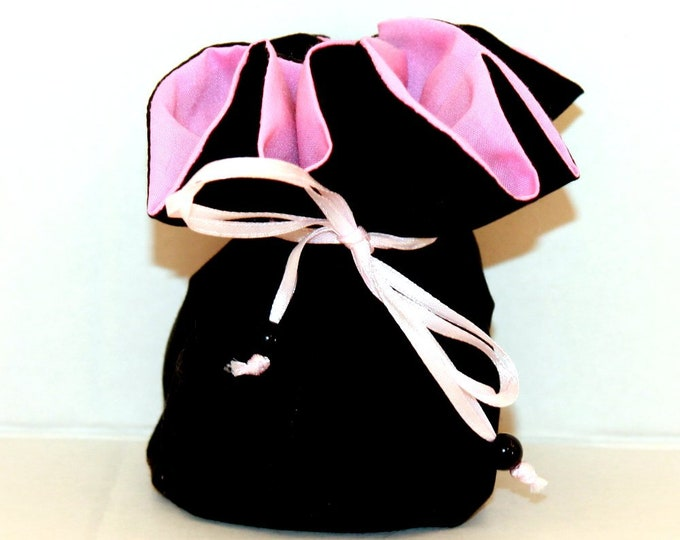 PINK and BLACK Fabric Jewelry Organizer ~ Pouch ~ Storage Case ~ Bag ~ Tote - Bell Art Designs ~ Medium JBMD0430
