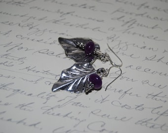 Antique Silver Leaf Earrings