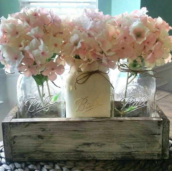 Shabby Chic Kitchen Table Centerpieces: Mason Jar Wedding Centerpiece Mason Jar Table Decor Rustic