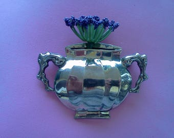 Vintage Colonial  Williamsburg  STIEFF Vase Tussie Mussie Brooch