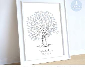 wedding tree guest book, fingerprint tree fairy lights, wedding tree printable, fingerprint tree printable,  fingerprint tree lanterns bulbs
