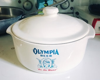 """Vintage Olympia Beer """"It's the Water"""" Round White Crockery Casserole"""
