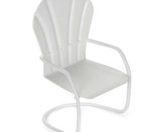 Fairy Garden Dollhouse Miniature Mini White Metal Chair