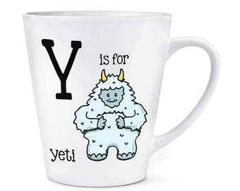 Letter Y Is For Yeti 12oz Latte Mug Cup