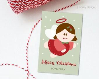 Angel Christmas Tags Printable Digital Tags Christmas Gift Tag Favor Tag Holiday Tags Holiday Gift Tag Neighbor Gift Christmas Labels DIY