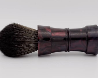 Shaving Brush - Hand-Made with hand-poured Maroon and Black Resin Handle and a Choice of Knots